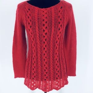 Wooden Ships Red Open Cable Knit Sweater